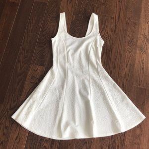 White textured skater dress
